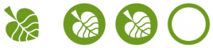 Two coloured Conscious rating icons for environmental awareness
