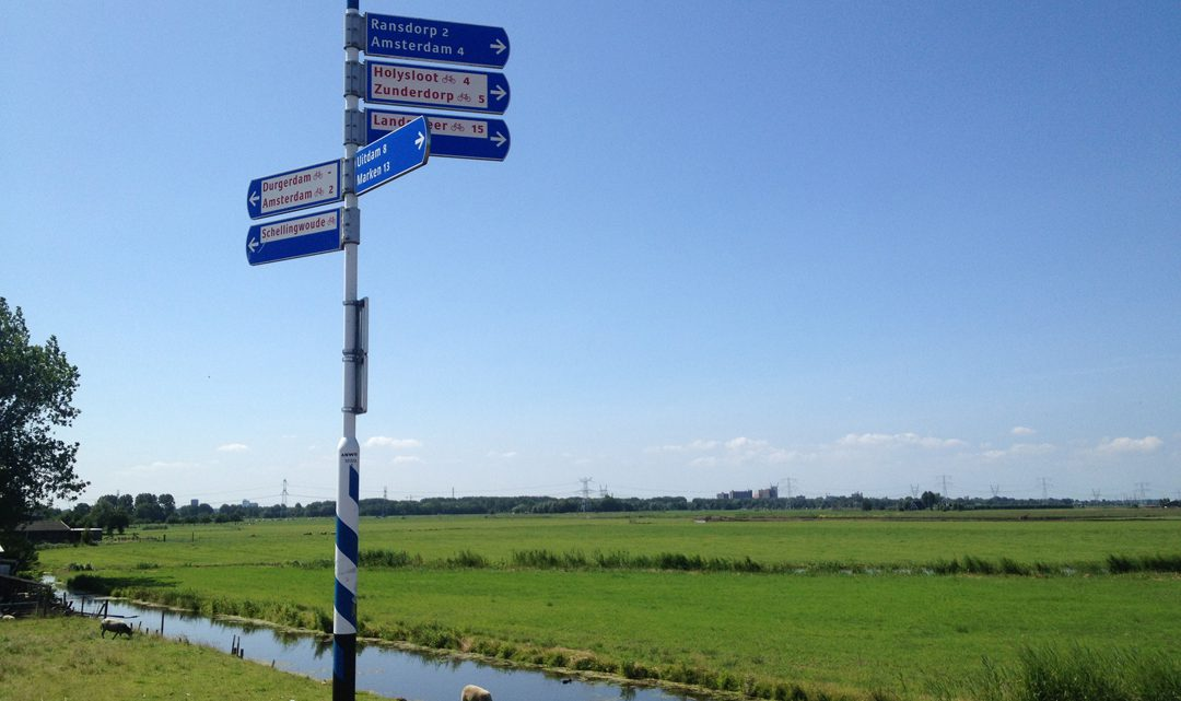 Bicycle road signs in the fields