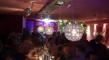 Busy bar at night