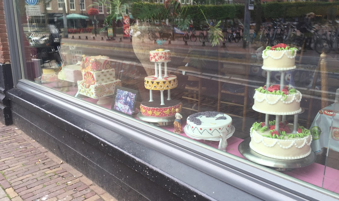 Cakes in window