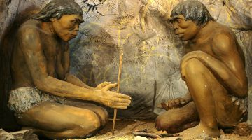 A model showing ancient cavemen