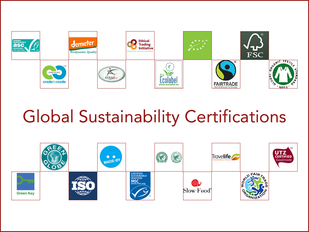 global sustainability certifications conscious travel guide collage of sustainable certifications