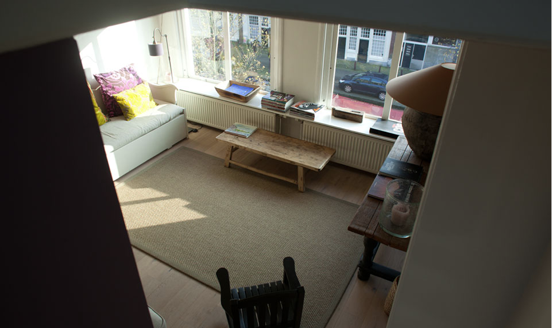 The living room as seen from the stairs