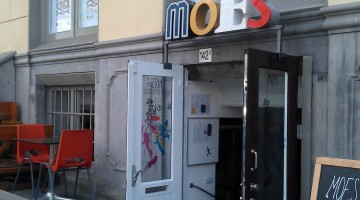 Door with MOES written above it