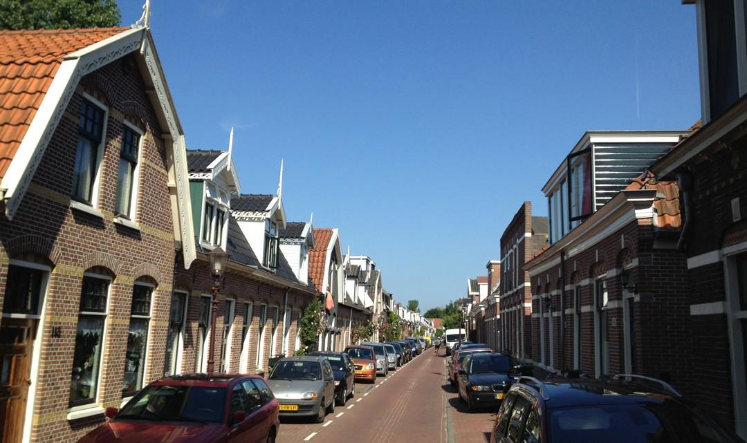 Rows of small houses along a narrow street