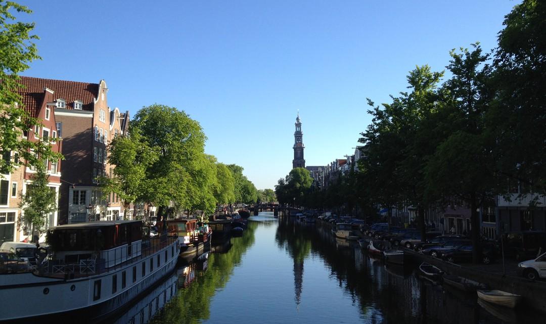 A view over the Prinsengracht towards Westertoren