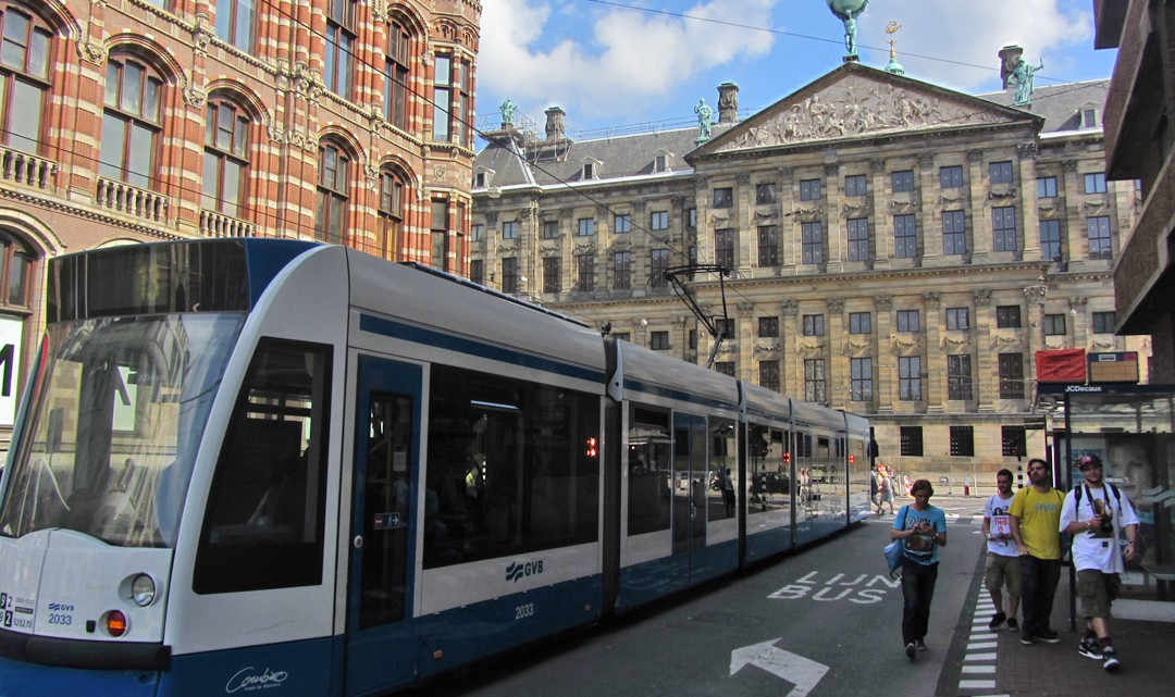 A tram in front of the Royal Palace