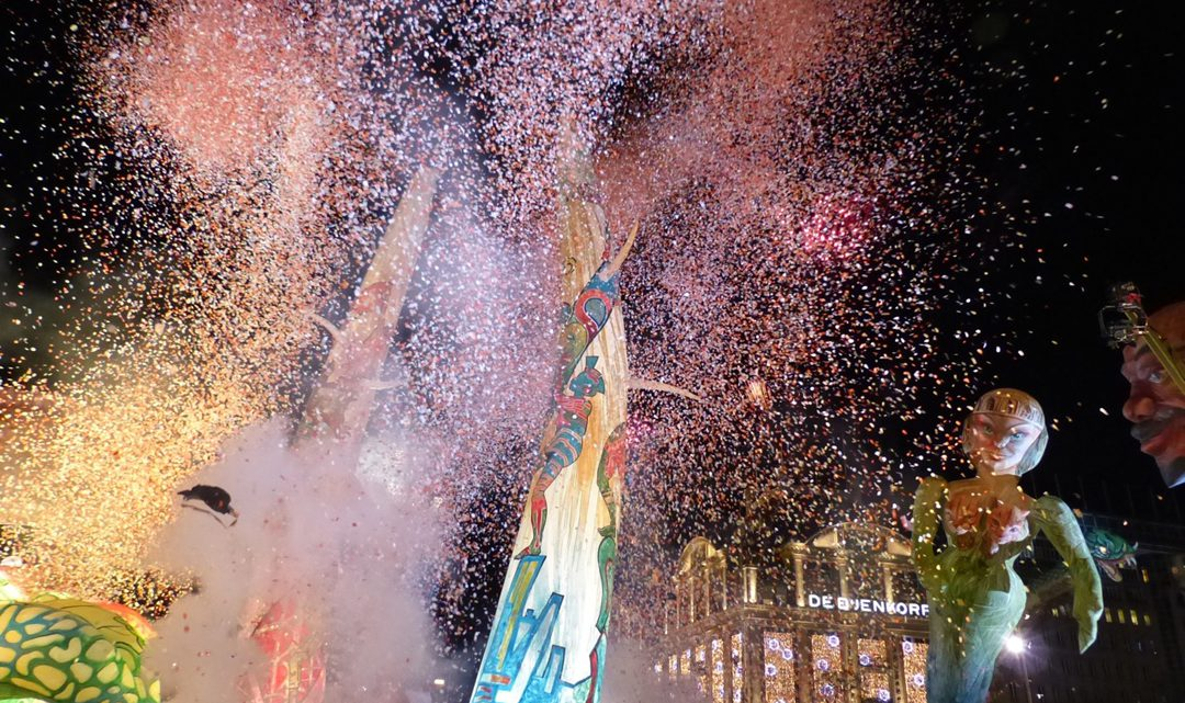 confetti and light show in front of De Bijenkorf