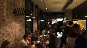 A full restaurant by night