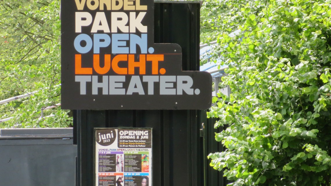 Art Deco sign saying in Dutch: Vondelpark Open Air Theatre