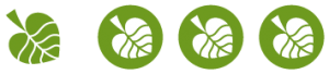 Three coloured Conscious rating icons for environmental awareness