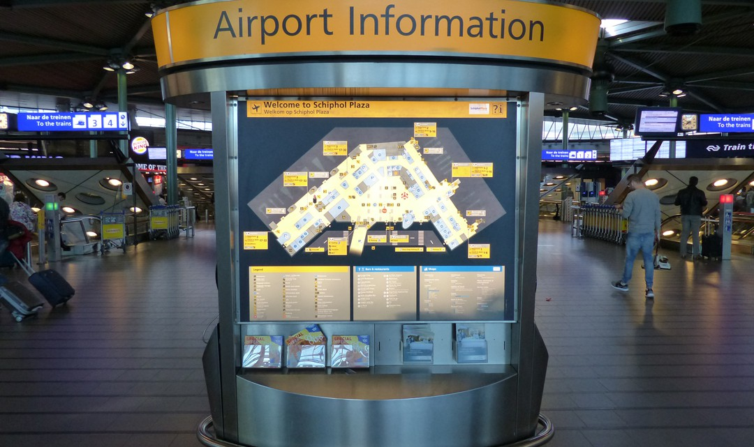 Airport Information Pillar with a map of the terminal