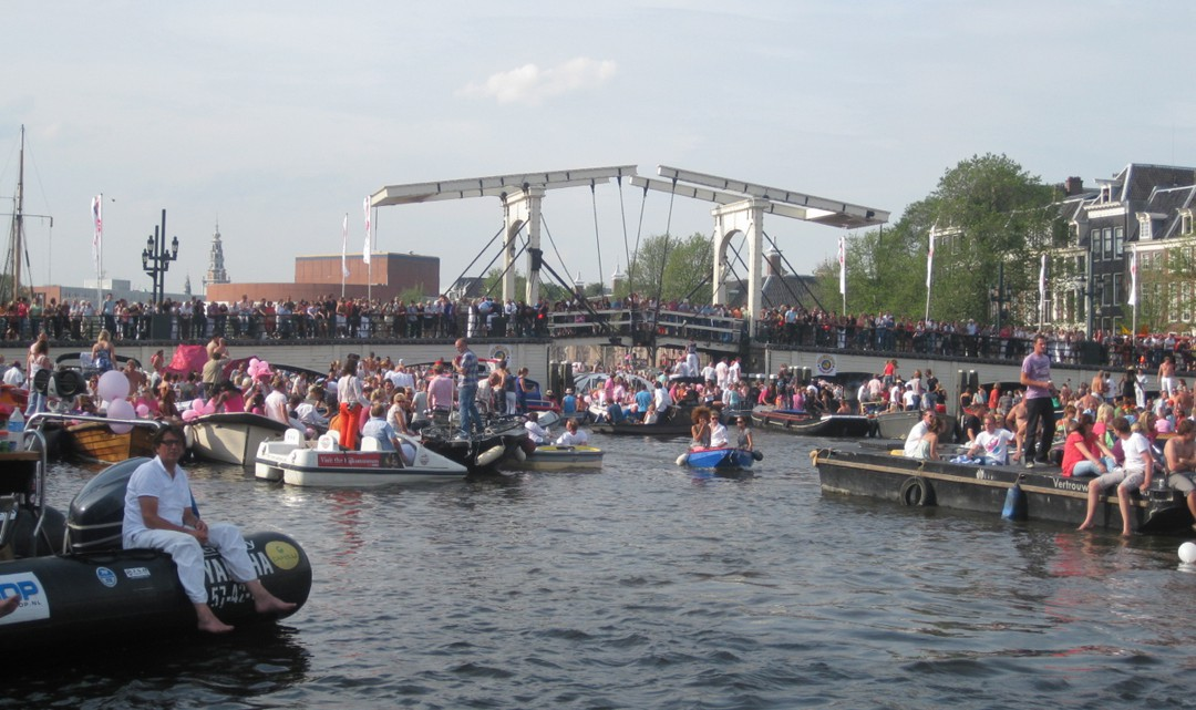 Many, many boats on river Amstel