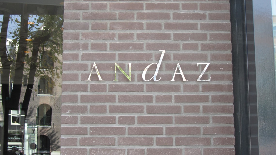 Name plate of the Andaz Amsterdam Prinsengracht Hotel