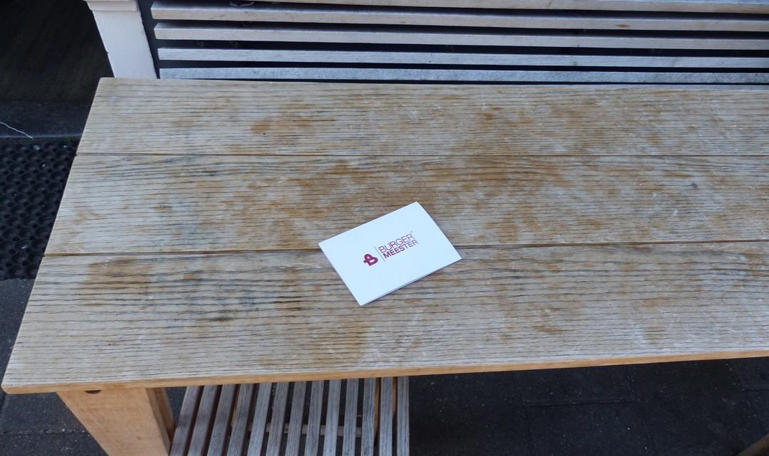 Menu on a table outside