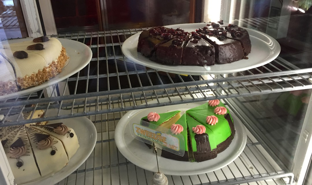 Slices of cake at the counter display