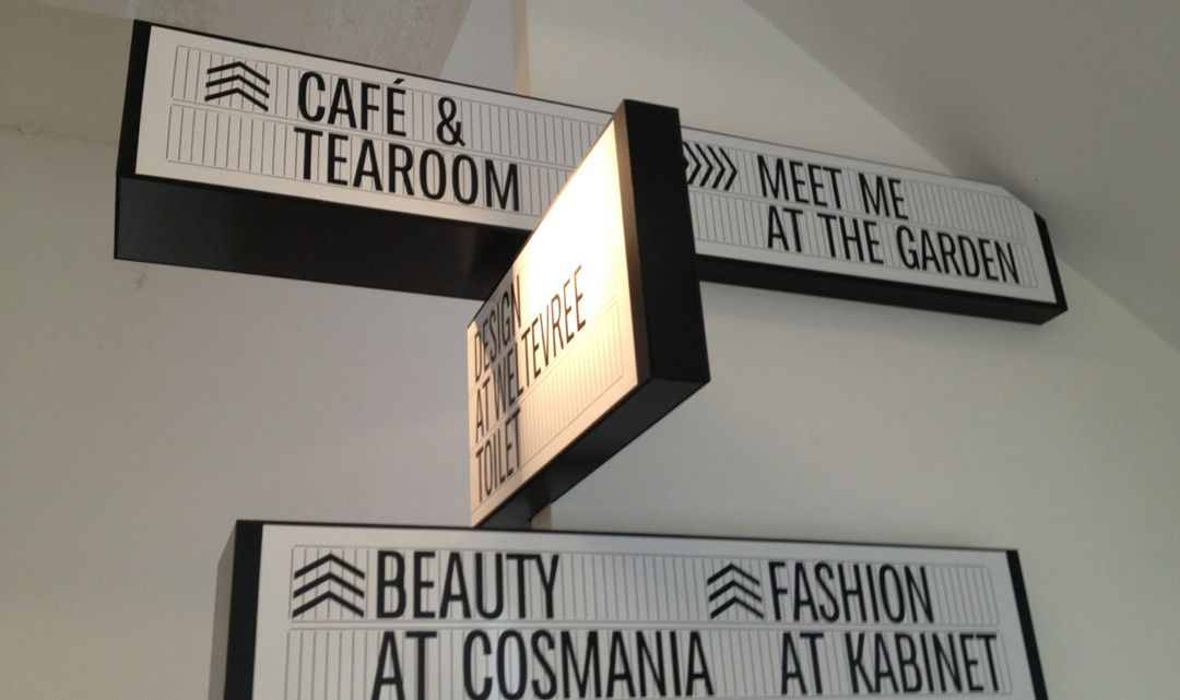 Signages to the various spaces at Droog