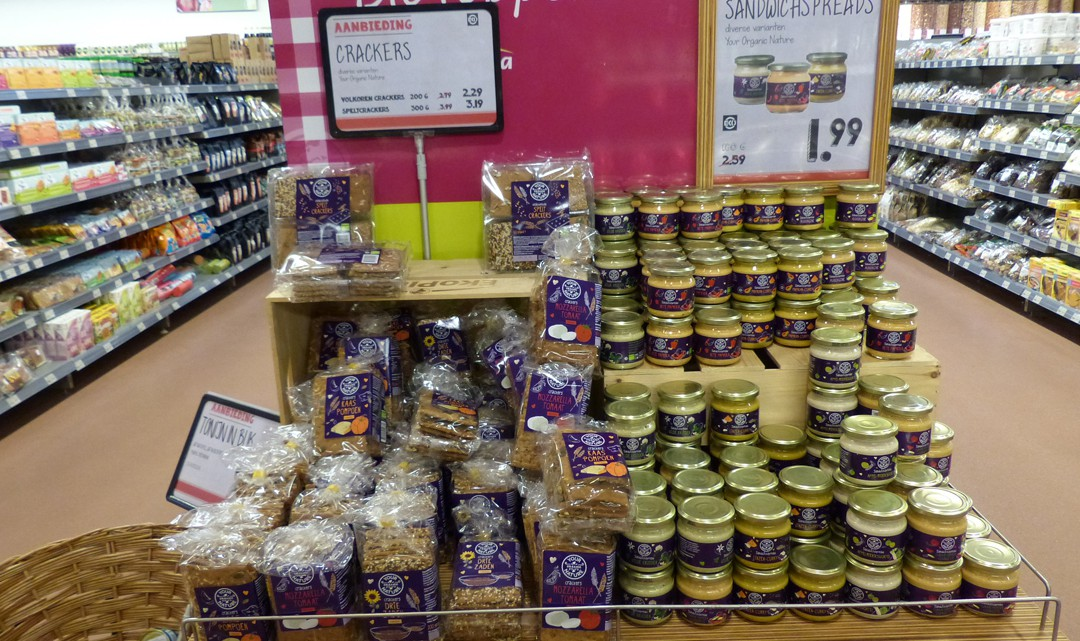 A display with discounted, organic products