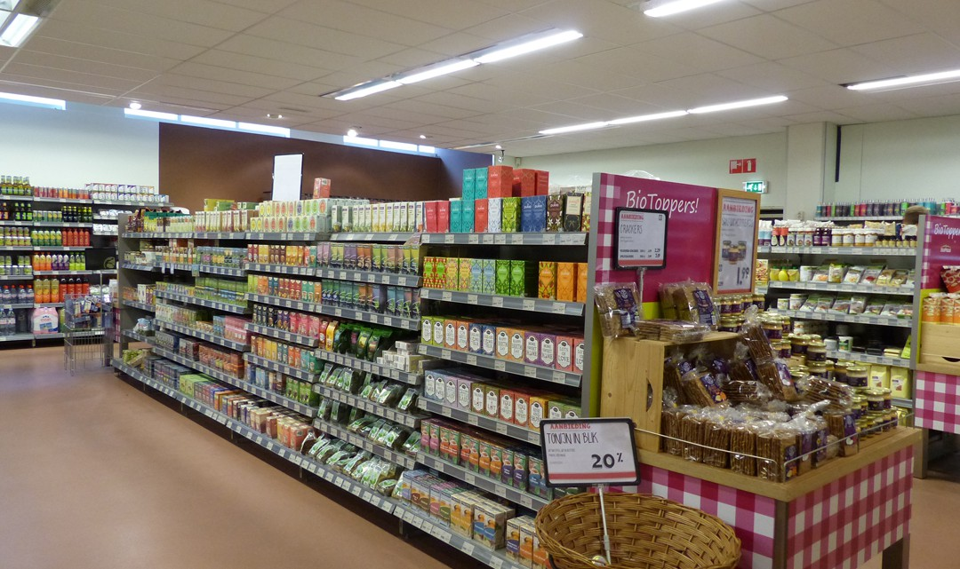 View inside the supermarket