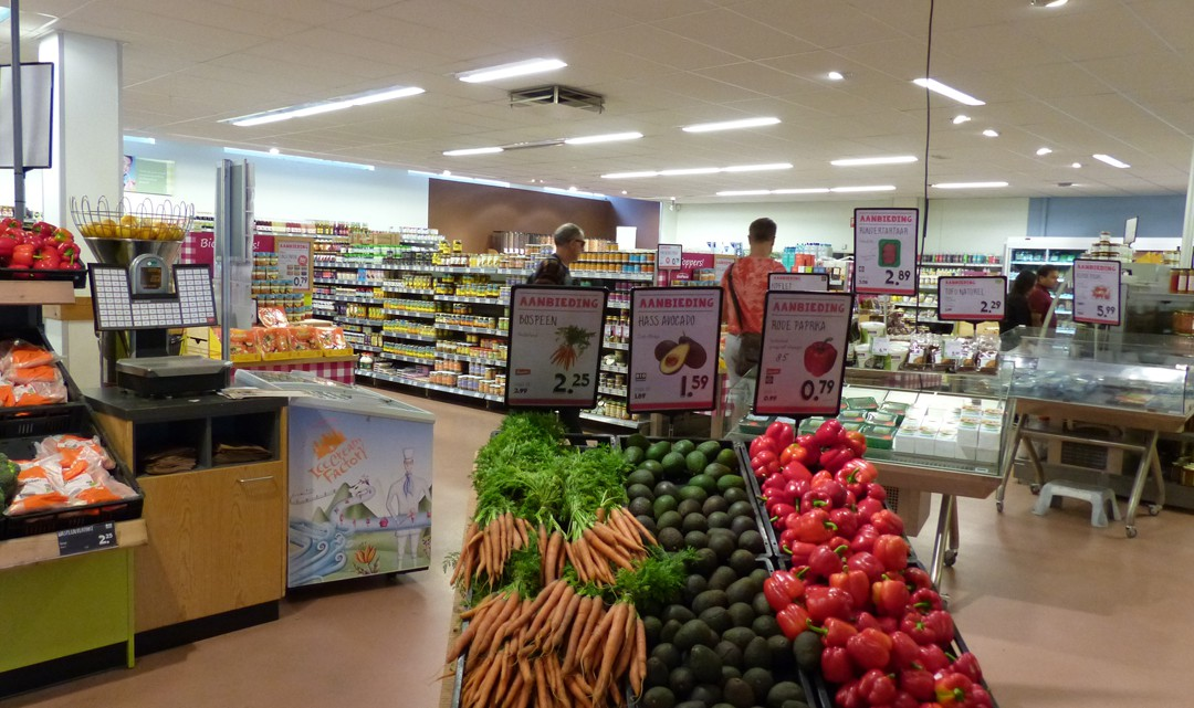 Organic vegetables on offer