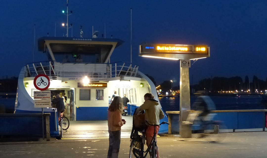 Ferry with open loading door