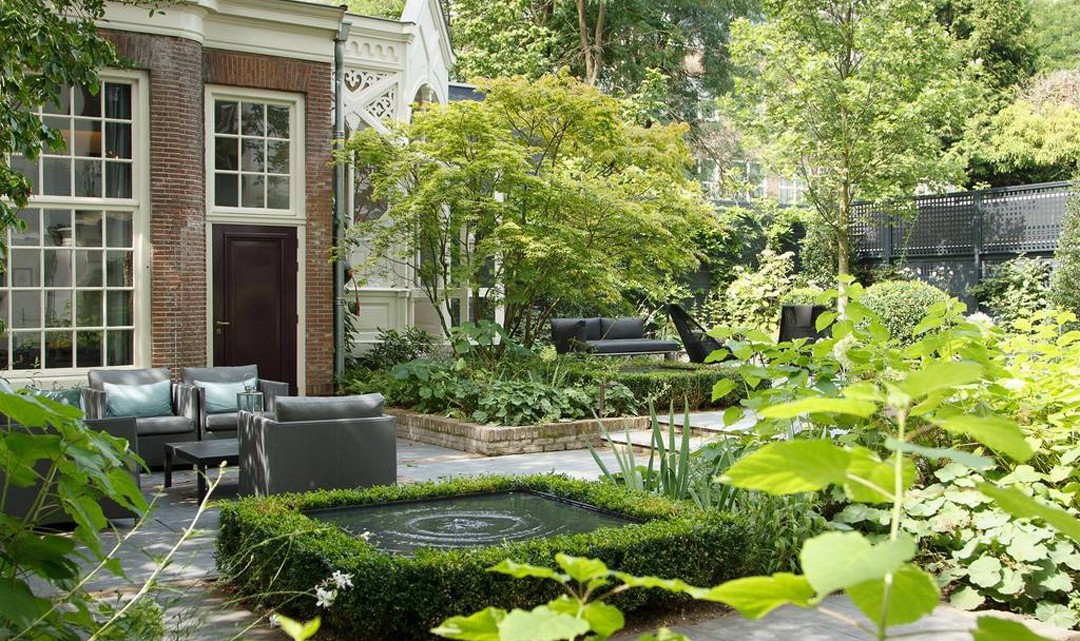 A clean and landscaped garden on a sunny day