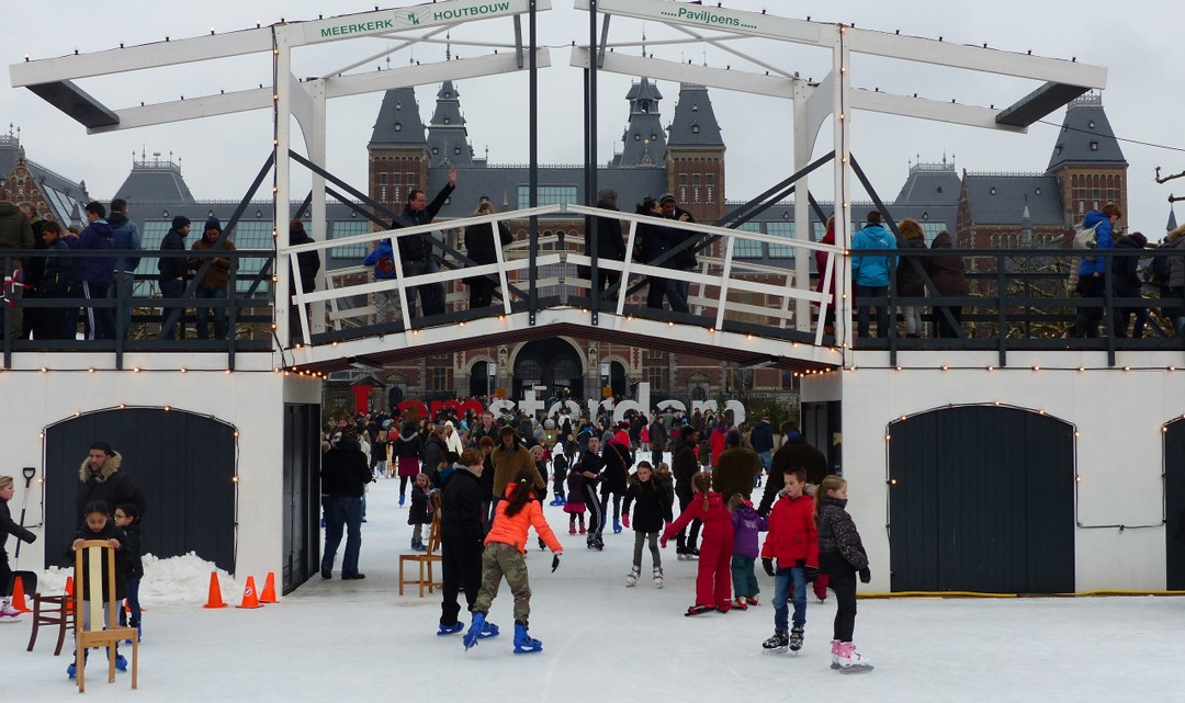 A copy of a draw bridge over the ice skating rink