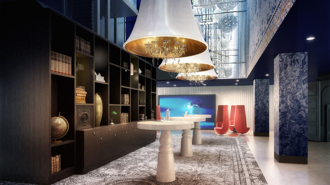 The lobby of the Andaz Hotel