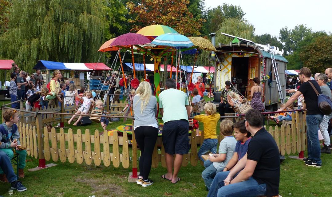 A small, colourful fun fair / playground for kids