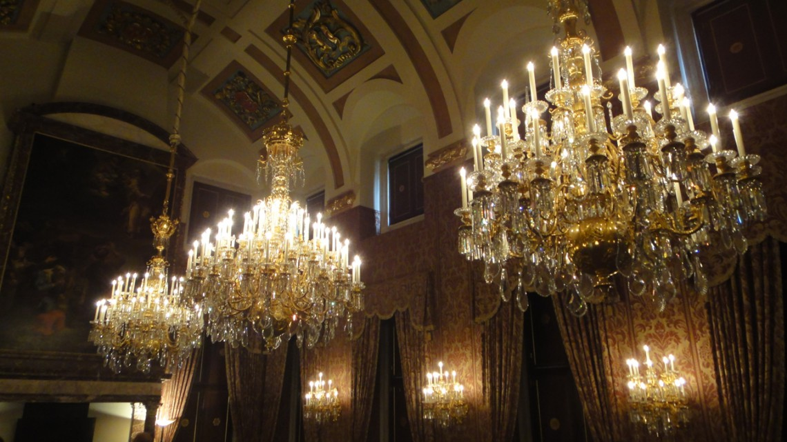 Three enormous chandeliers in a row