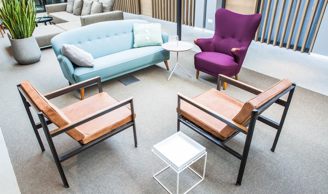 A retro looking seating area