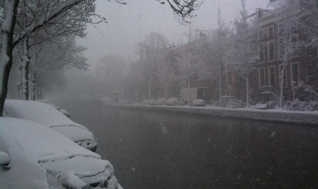 A snowy canal in Amsterdam