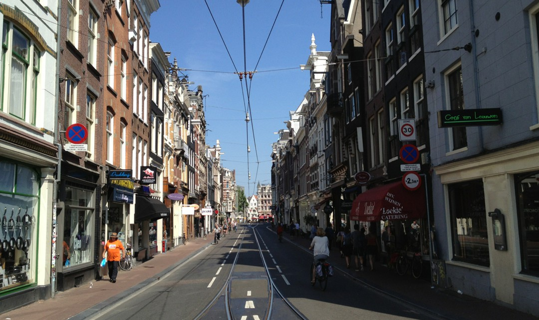 A view of the Utrechtsestraat in the sun