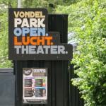 Art Deco sign saying in Dutch: Vondelpark Open Air Theatre